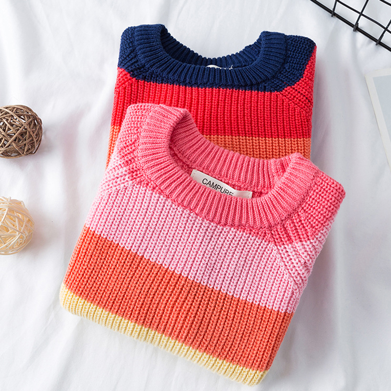 Baby Boys Girls Stripe Knitted Tops Sweater Outfits Christmas Baby Boy Winter Thick Knitted Clothes Girls Sweaters 6