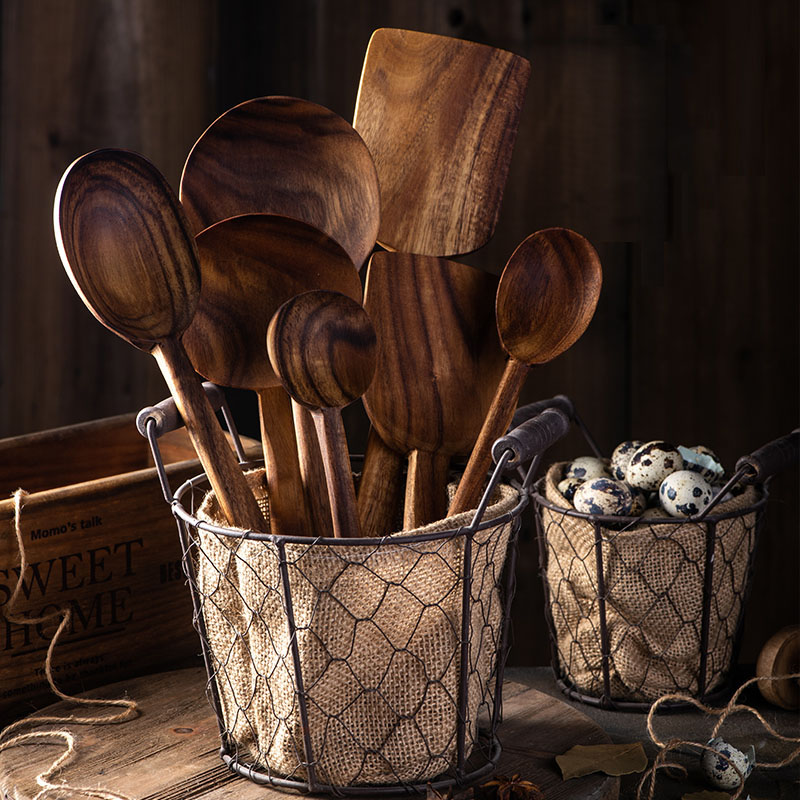Thai Teak Wooden Non stick Spatula Coffee Spoon For Cooking Wood Kitchen Cooking Utensils Supplies Kitchen Tool Set|Cooking Tool Sets|   - AliExpress