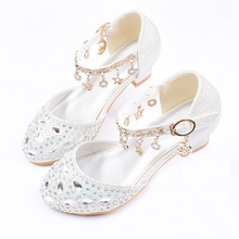 Princess Kids Leather Shoes for Girls Rhinestone Casual Glit