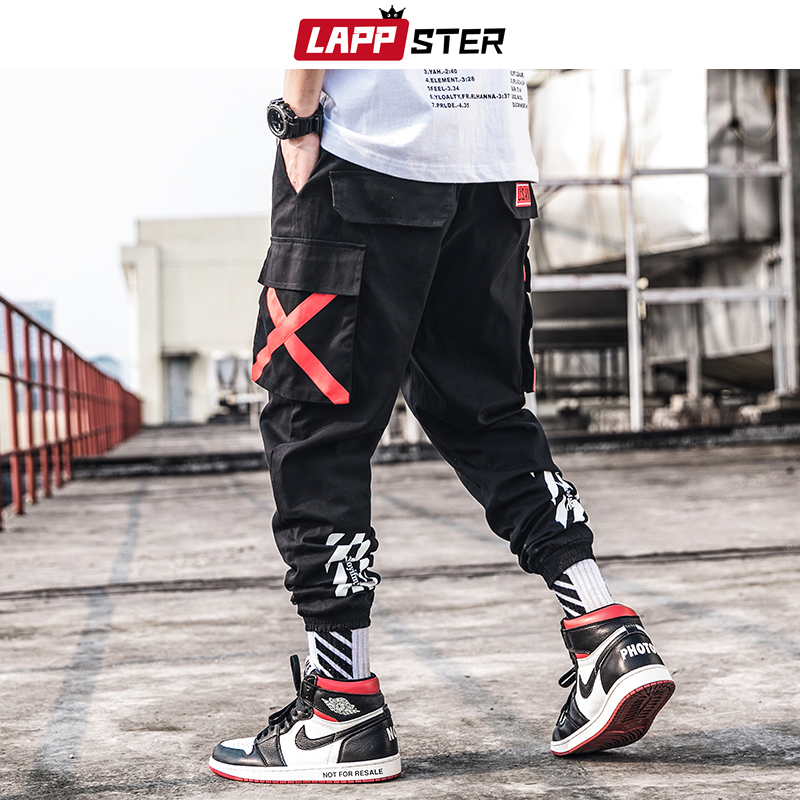 LAPPSTER Men Streetwear Cargo Pants 2019 Harajuku Overalls Men Camouflage Joggers Pants Hip Hop Korea Trousers Sweatpants 3XL