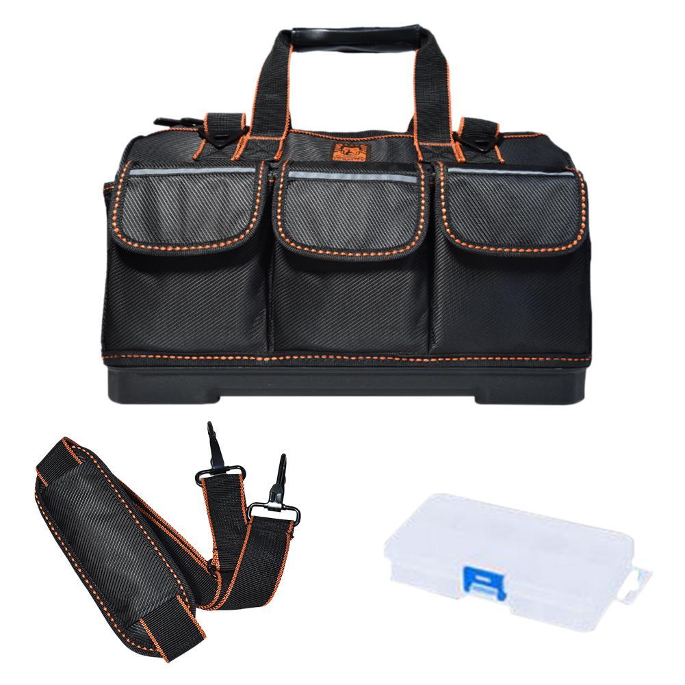 Big Capacity Tool Bag Canvas Wear-resistant Large Kit Storage Bag Holder Organizer With Molded Base Adjustable Shoulder Strap