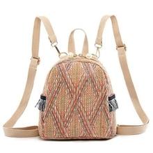 купить New Small Travel Backpacks Women Straw Woven Shoulder School Bags Casual Knapsack Knitting Rucksack Bag дешево