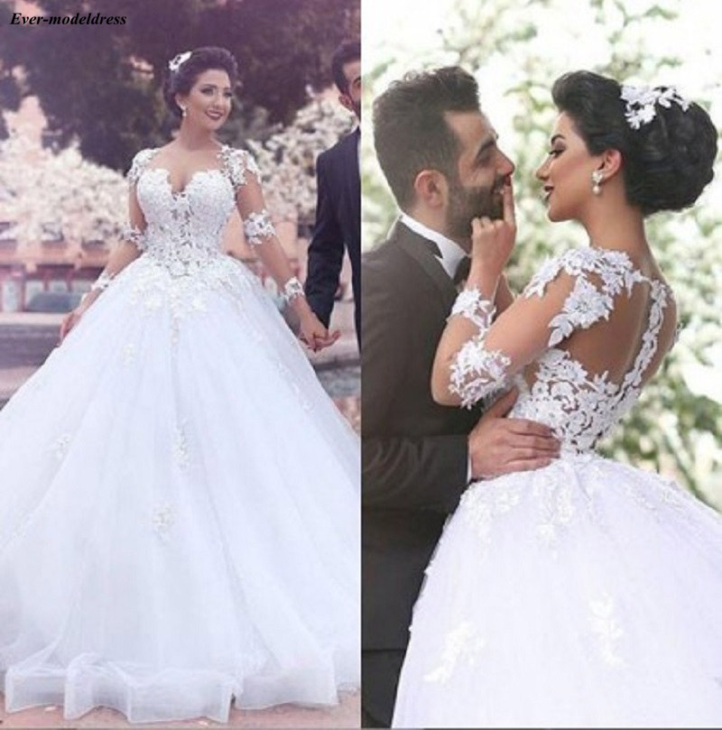 2020 Ball Gown Wedding Dresses Long Sleeves Sheer O-Neck Zipper Back Lace Appliques Modest Bridal Gowns Robe De Mariee Cheap