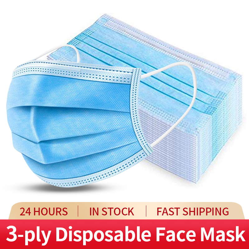 50pcs Disposable Protective Mask 3 Layer Non-wove Filter Anti Dust Anti Fog Fluid Resistant Melt-blown Ear-loop Face Mouth Masks