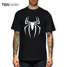 New Spider-man Logo Print T-shirt Men Black Superhero Fashion T Shirt Spiderman Tee Top Teenage Boy Tshirt The Avengers