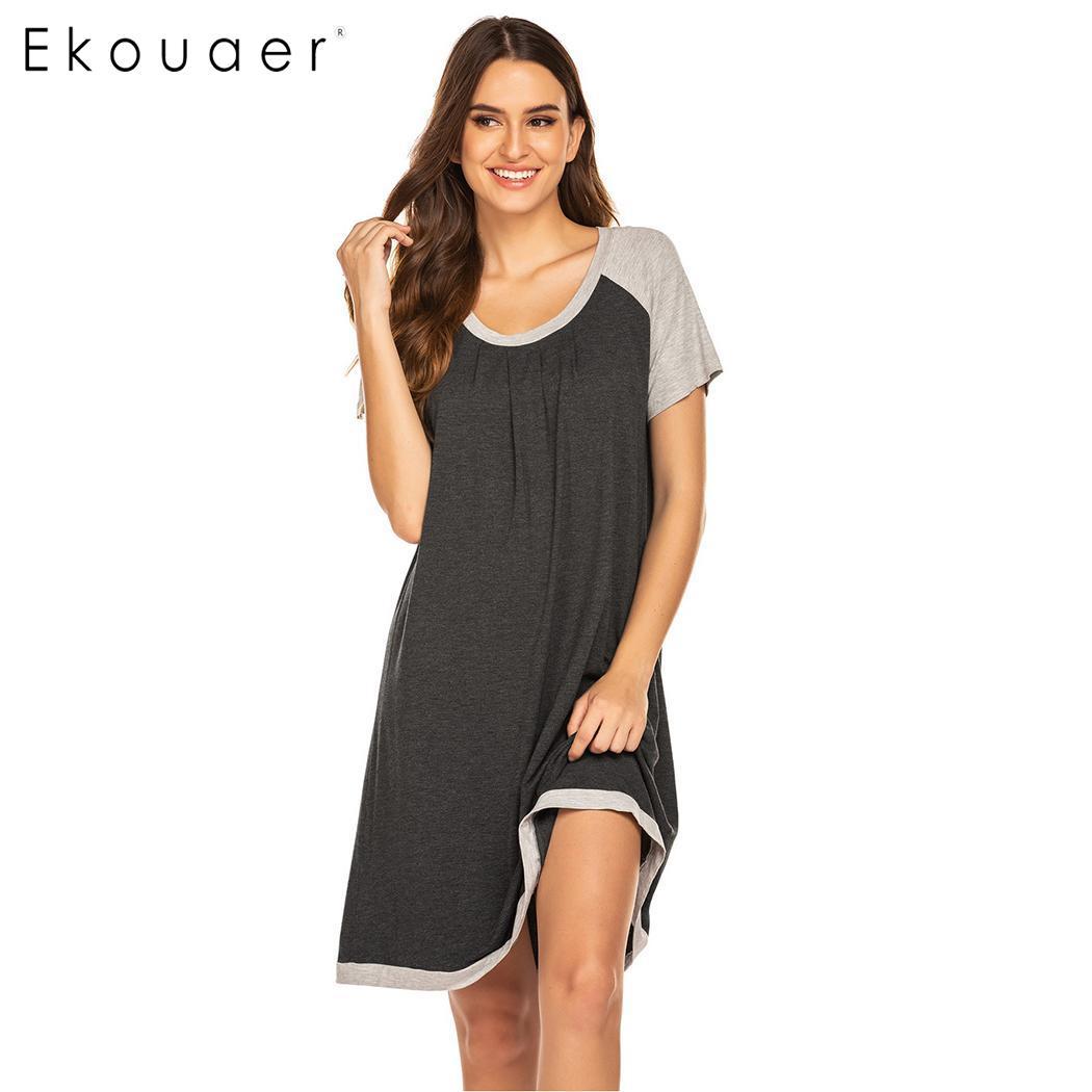 Ekouaer Summer Loungewear Nightdress Women Comfortable Sleepwear O-Neck Short Sleeve Night Dress Loose Nightgown Nighties