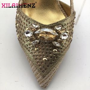 Image 4 - 2020 New Design Pointed Toe Sandals Italian Women Shoes and Bag to Match in Golden Color High Quality Nigerian Lady Party Shoes