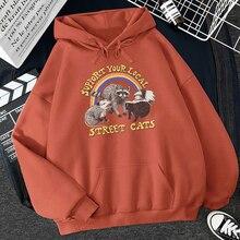 Support Your Local Street Cats Print Women Hoodie Cartoons Crewneck Clothes Vintage Loose Sweatshirt Street Hip Hop Hoody Womens