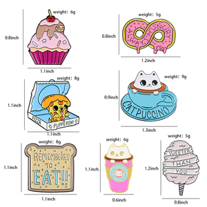 Милая эмалированная булавка на заказ для торта, кофе, хлеба, пиццы, мешочек для брошек одежды, нагрудная булавка, значок для послеобеденного чая, медовый ювелирный подарок
