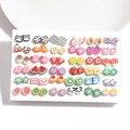 Набор из сережек-гвоздиков в смешанном стиле для девочек и женщин, милые серьги в виде сердца для детей, модные ювелирные изделия в подарок