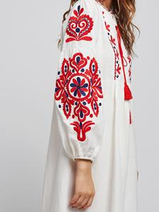 Image 5 - Ethnische Stil Muslimischen Frauen Langarm Maxi Kleid Stickerei Arab Abaya Cocktail Kordelzug Vintage Kleid Ukrainischen Vyshyvanka