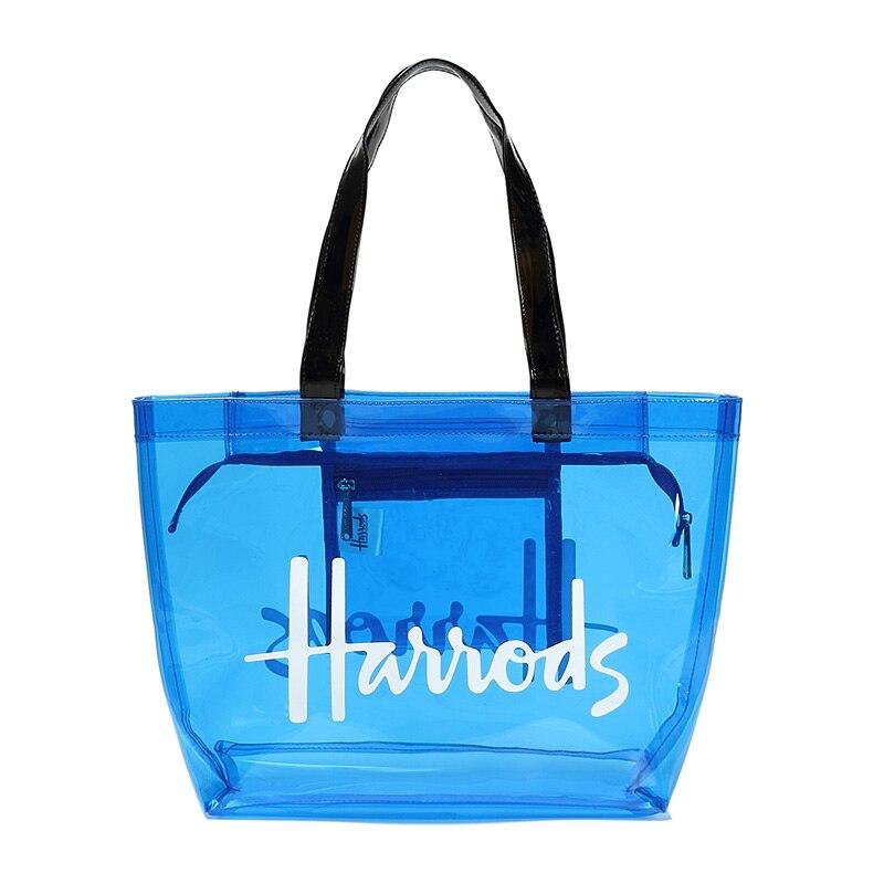 Damen Transparent PVC Klar Alphabet Jelly Bag Tote Casual Handtasche Messenger