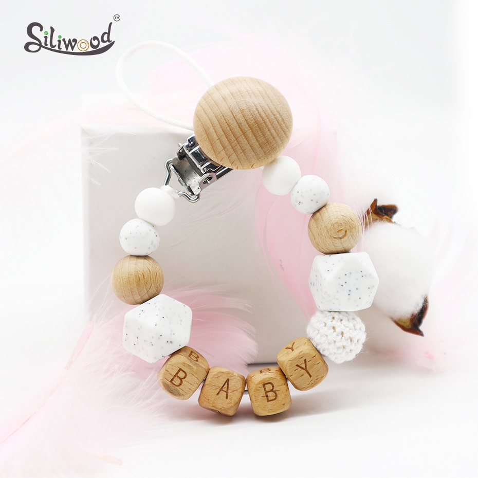 Baby Pacifer Clips Personalized Name Dummy Nipple Holder Baby Teat Chain Toy Stroller Teething BPA Free Safe Baby Accessories