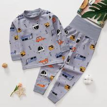 Jocestyle для новорожденных детские пижамы комплект осенне-зимняя одежда, теплая одежда для детей, Детский жилет с принтом из мультфильмов, Высокая Талия хлопковые топы и штаны Рождественская одежда