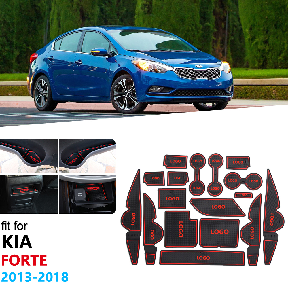 For KIA Forte YD 2013 2014 2015 2016 2017 2018 K3 Cerato Anti-Slip Rubber Gate Slot Cup Mat Door Groove Mat Accessories Stickers