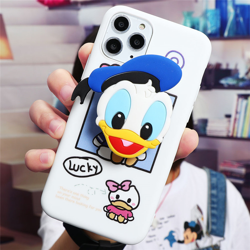 Cute Cartoon Print Design Made Of Soft TPU Material Standing Case For iPhone Mobiles 4