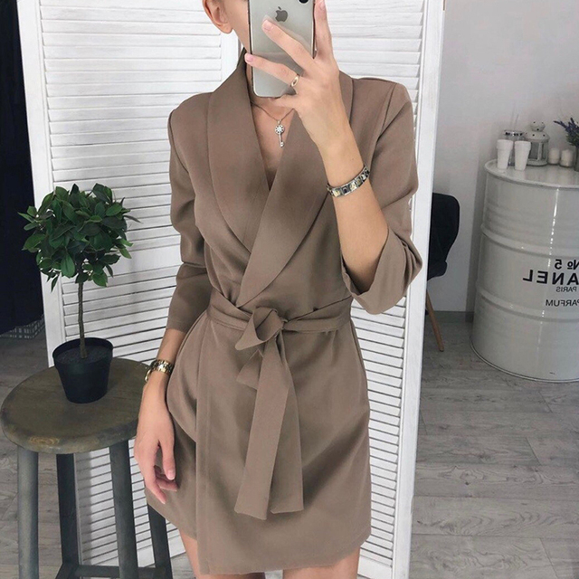 Women Casual Sashes A-line Mini Dress Office Ladies Turn-down Collar Dresses 2019 Autumn Winter New Fashion Elegant Party Dress 6