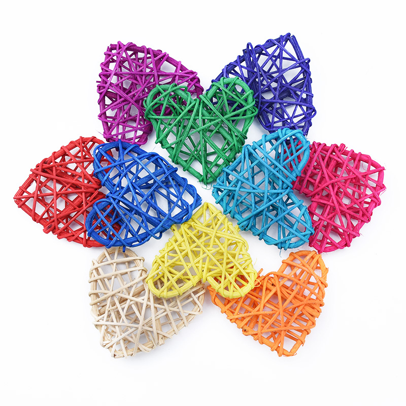 5pcs 7CM Artificial Straw Love Wedding Decorative Flower Wreath Home Christmas Decor Rattan Ball DIY Curtain Hanging Accessories