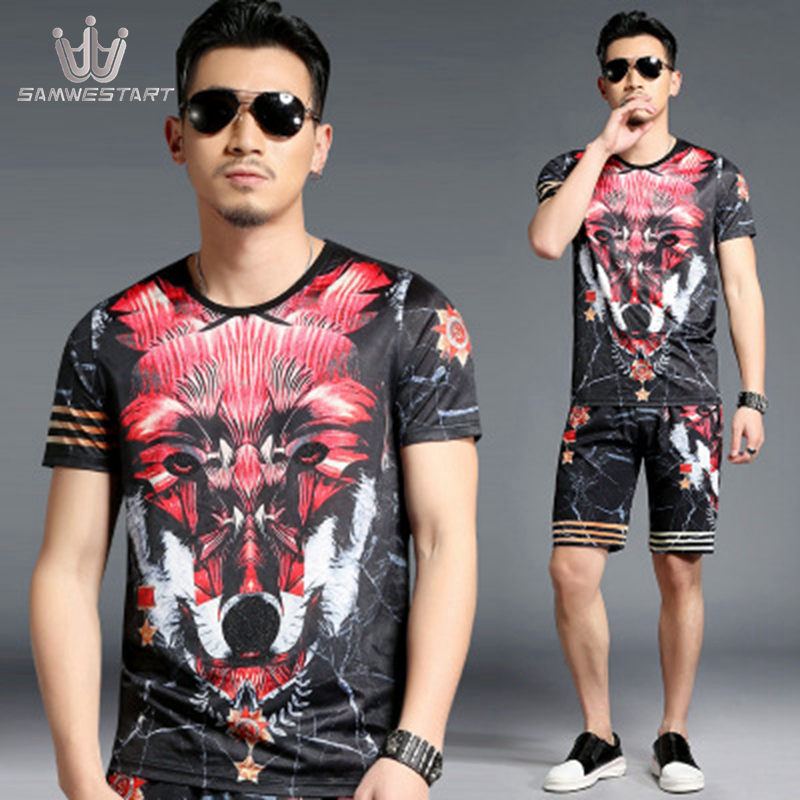 SAMWESTART Men's Sets Menswear Summer Short Sleeve Pants Male Sport Sets Fashion Modern Stripe O-Neck Elastic Waist Black Red