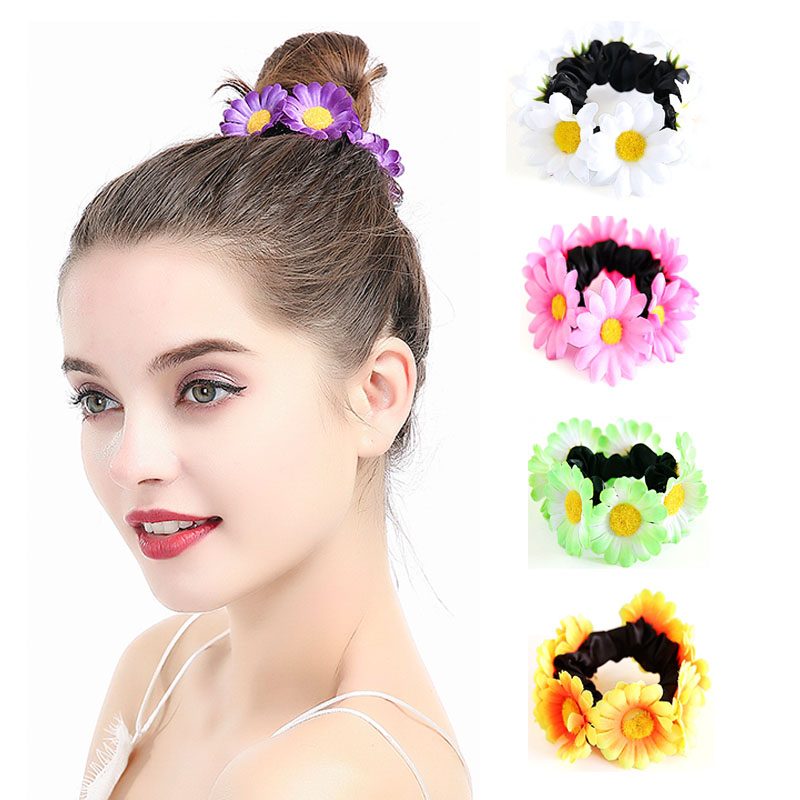 DUOJIAOYAN Sunflower Elastic Hairband Artifical Daisy Headband Girls Hair Rope Color Floral Ponytail Holder