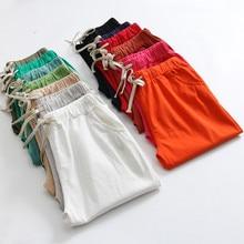 4XL Plus size Cotton Linen Pants For Women Trousers Loose Casual Candy Colors Wo