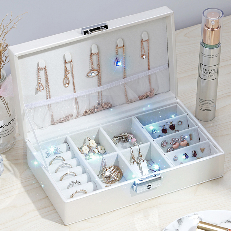 Leather Jewelry Organizer Ring Pendant Earrings Necklace Storage Box Women Jewelry Display Boxes Cosmetics Beauty Container Case