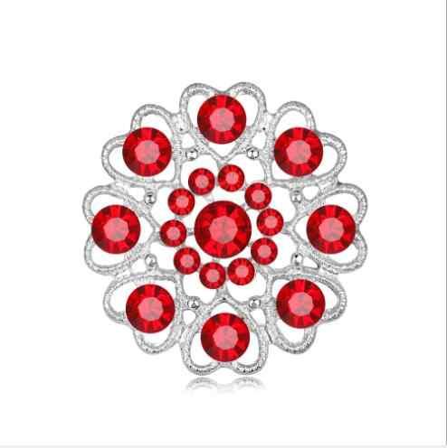 904 Hollow Crytal Jantung Bros Brincos Sweater Pin Memorial Perhiasan Syal Gesper Bijoux Hadiah Natal X1173