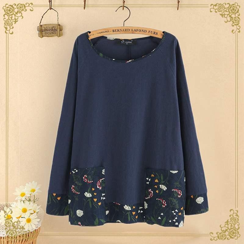 2020 Spring Women Cotton Shirts Vintage Floral Print Patchwork Shirts Bohemian Pockets Blusas Plus Size Tunic Chemiser Mujer 5XL