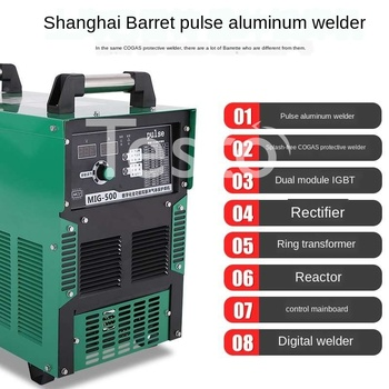 Double pulse aluminum gas shielded welding machine MIG-500 industrial grade spatter-free two shielded welding machine nb mig 270315 gas shielded welder power supply plate carbon dioxide welding machine circuit board
