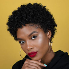 Pixie corte peruca de cabelo humano curto bob perucas para as mulheres afro kinky encaracolado peruca completa máquina feita barato cabelo humano perucas alimaster