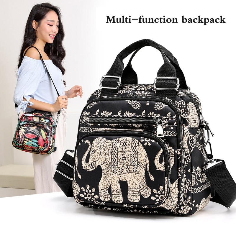 Women's  Multifunction School Back Pack Elephant Printing Nylon Water Repellent Back Pack For Teenager Girls School Bags Mochila