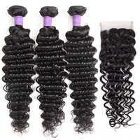 Queenlike Haar Produkte 3 4 Stück Menschliches Haar Bundles Mit Verschluss Nicht Remy Weben Brasilianische Tiefe Welle Bundles Mit Verschluss
