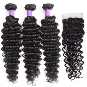 Queenlike Hair-Products Weave Closure Human-Hair-Bundles Brazilian with Non-Remy 3-4pieces