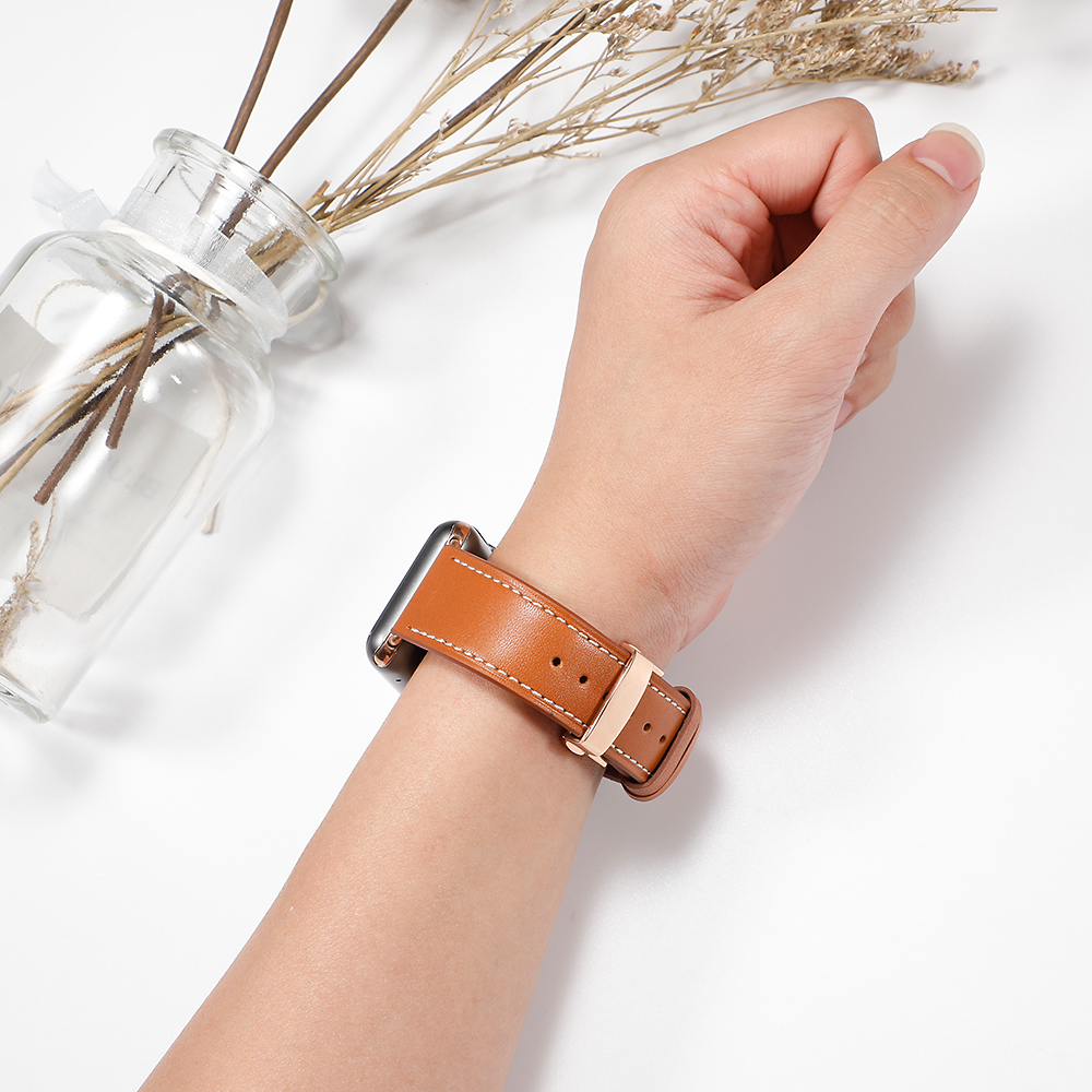 Image 4 - Leather Strap For Apple watch 5 4 band correa apple watch 42mm 38 mm 44mm 40mm iWatch 4 3 2 Butterfly buckle pulseira watchbandWatchbands   -