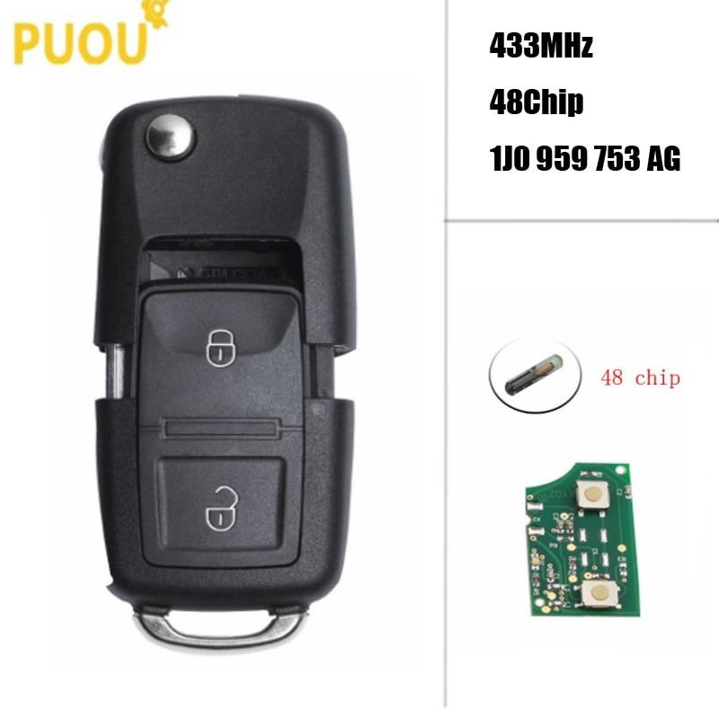 2 boutons clé à distance bricolage pour VW/VOLKSWAGEN coccinelle Bora Golf Passat Polo Transporter T5 1J0959753AG/HLO 1J0 959 753 AG