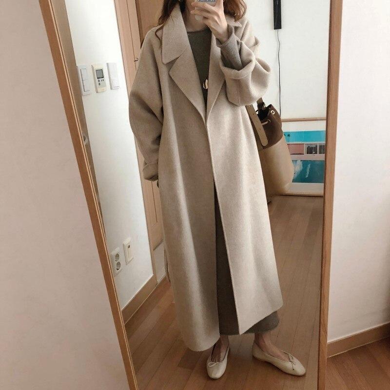 19 Winter Oversize Long Trench Coat Women Cashmere Coat Korean Lady Windbreaker Outwear Streetwear 58