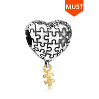 SG liebe herz Charme Mit puzzle charme perlen 925 sterling Silber mein herz ist komplett mit sie diy fit charms armband für frauen