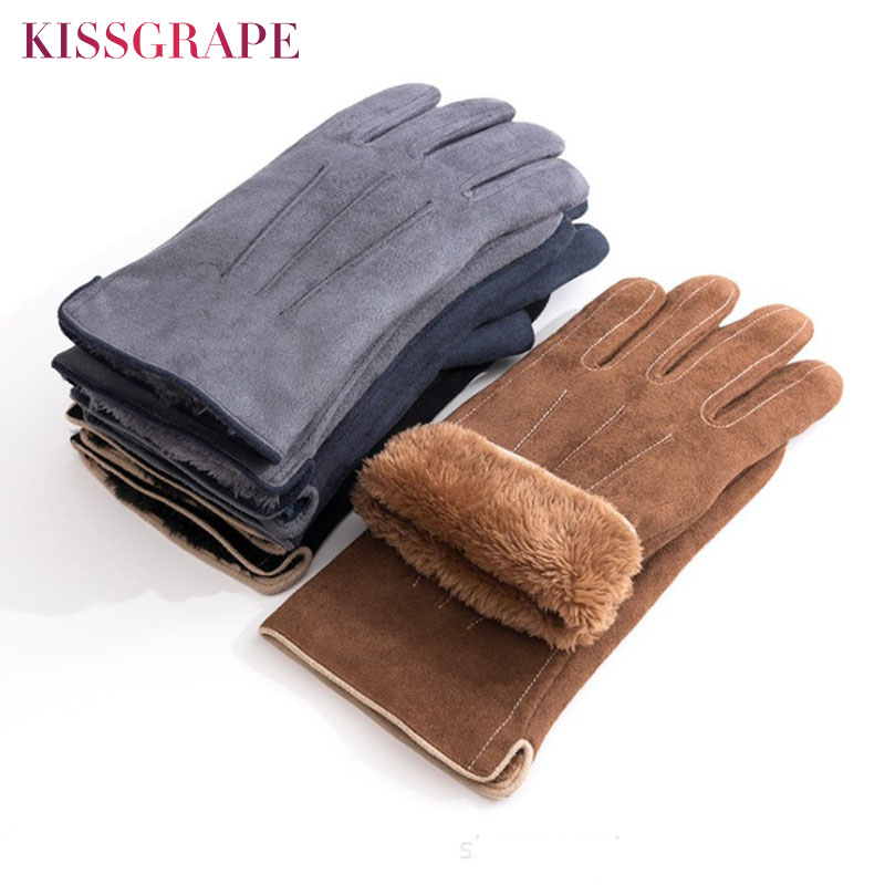 New Winter Mens Fashion Warm Durable Gloves Super Warm Fleece Touch Screen Gloves Suede Leather Mittens Dropshipping Whosale