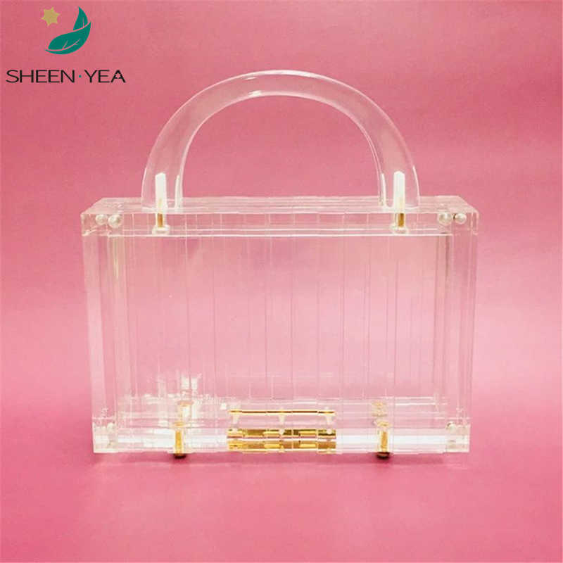 19New trendy handbag Brand fashion women party prom transparent acrylic evening bag luxury clear clutch purse elegant chic totes