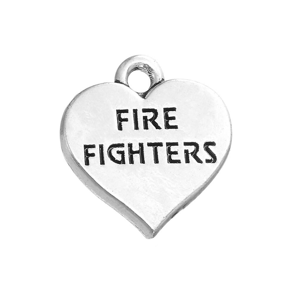 10pcs Charms Fire Fighters Heart Tag <font><b>15x15mm</b></font> Antique Silver Color Pendant Fire Fighters Heart Tag Charms For Jewelry Making image
