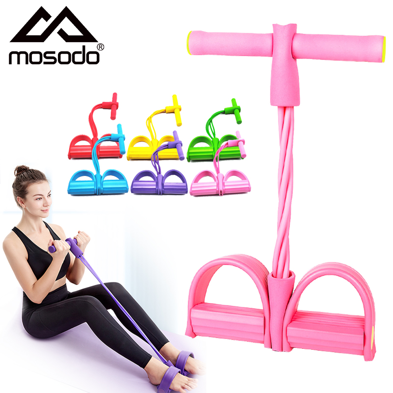 Mosodo 4 Elastic Pull Ropes Resistance Bands Pedal Ankle Puller Exerciser Rower Belly Home Gym Sport Training Fitness Equipment(China)