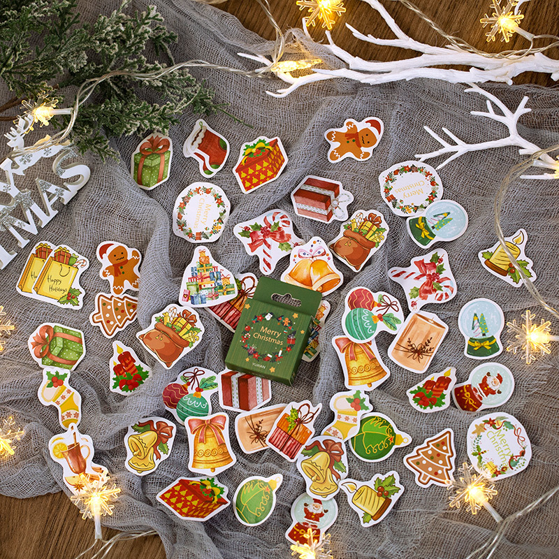 50pcs Christmas Wishes Series Kawaii Cute Cartoon Greetings Handbook Decoration Sticker Scrapbooking Girl School Supplies Statio