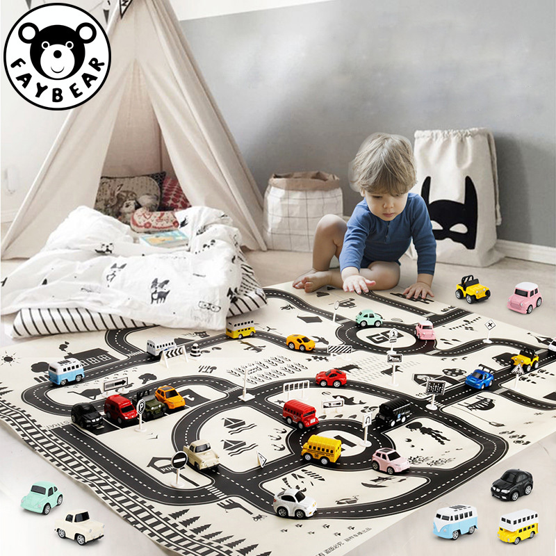 City Scene Traffic Highway Map 130*100CM Portable Car Play Mat Educational Toys For Children Games Road Carpet Car Accessories