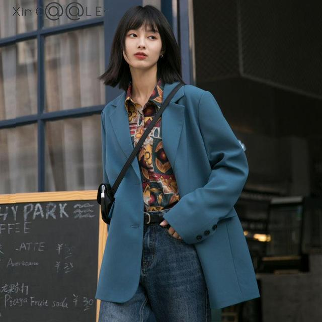 New Autumn Suit Jacket Female Spring And Blue Double-breasted Casual Temperament Ins Slim Black Suits Coats 1