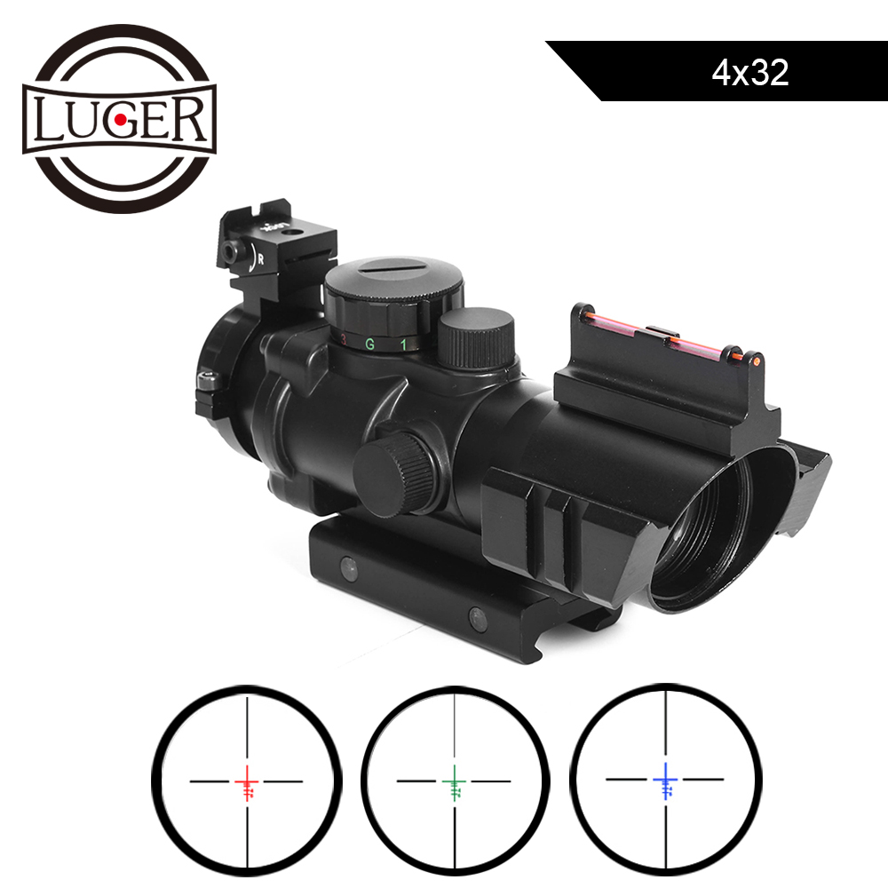 LUGER 4x32 Acog Riflescope 20mm Dovetail Reflex Optics Hunting Scope Tactical Sight For Rifle Airsoft Gun Sniper Magnifier