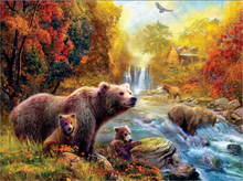 Bears at the Stream Animal Embroidery Needlework Crafts14CT Counted Unprinted DMC DIY Cross Stitch Kits Handmade Arts Wall Decor(China)