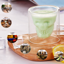 1/4Pcs Vodka Whiskey Crystal Cup Creative Skull Head Transparent Drinkware Double Layer Heat-Resistant Glass Party Bar Supplies