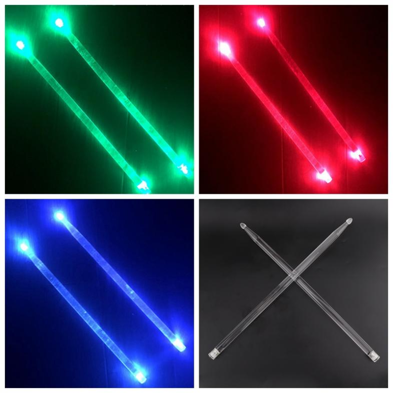 Купить с кэшбэком 5A Acrylic Drum Sticks Noctilucent Glow in The Dark Stage Performance Luminous Jazz Drumsticks Red Green Blue 3 Colors Optional