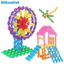 100 шт./пакет многоцветный Пластик Снежинка строительные блоки Дети в собранном виде игрушка «сделай сам» Детские обучающие игрушки для Детский подарок