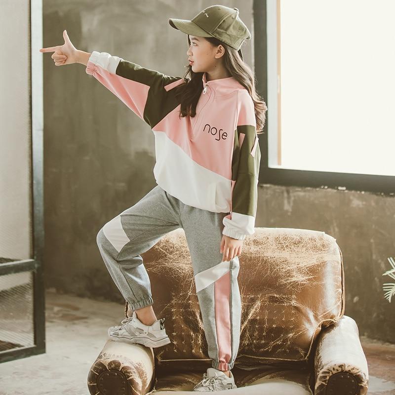 2021 Fashion Big Girls Sports Suits Semi-high Collar Letter Zipper Clothing Set Teenage Spring Autumn Tracksuit Kids Sportswear 4